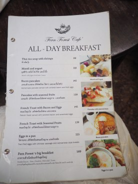 Fern Forest Cafe Menu Breakfast Northern Thailand Chiang Mai